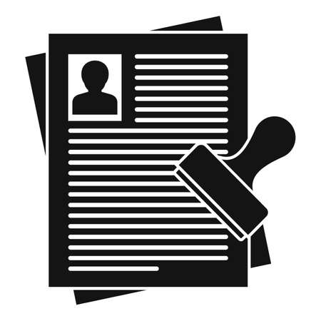 Passport control documents icon, simple style 矢量图像