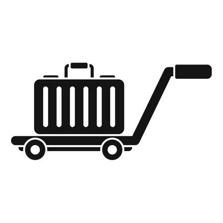 Travel bag cart icon, simple style