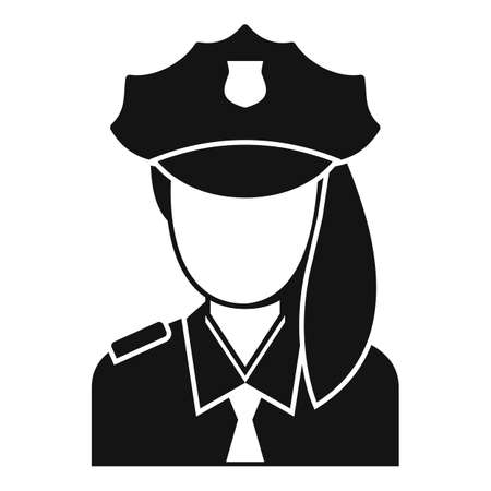 Police woman border icon, simple style
