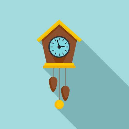 Balance pendulum clock icon, flat style 矢量图像