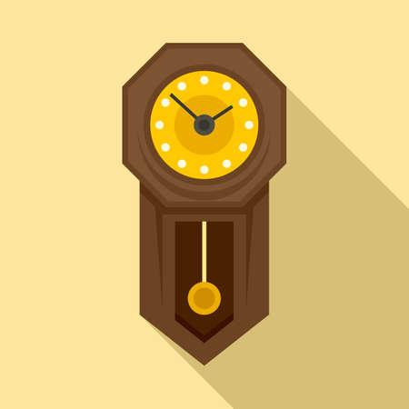 Antique pendulum clock icon, flat style