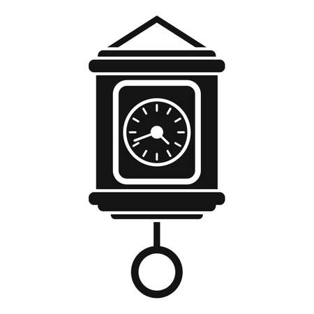 Hour pendulum clock icon, simple style
