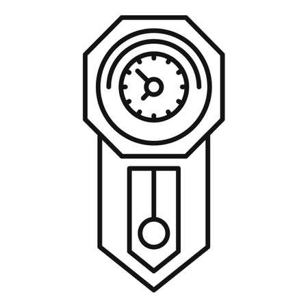 Hour pendulum clock icon, outline style Illusztráció