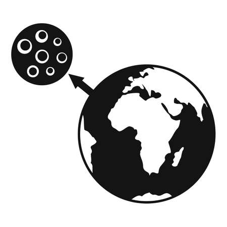 Earth moon gravity icon, simple style