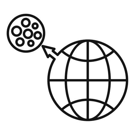 Earth moon gravity icon, outline style