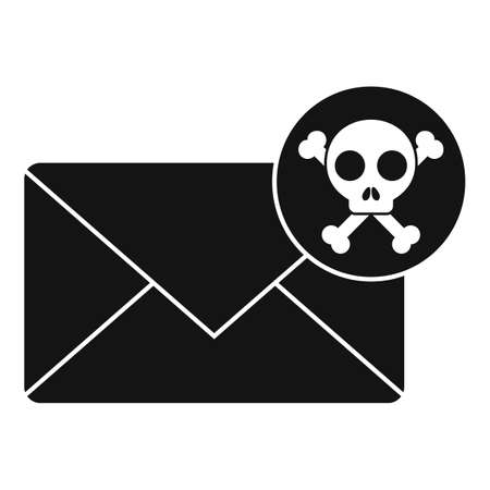 Danger fraud mail icon, simple style