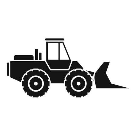 Front bulldozer icon, simple style Vetores