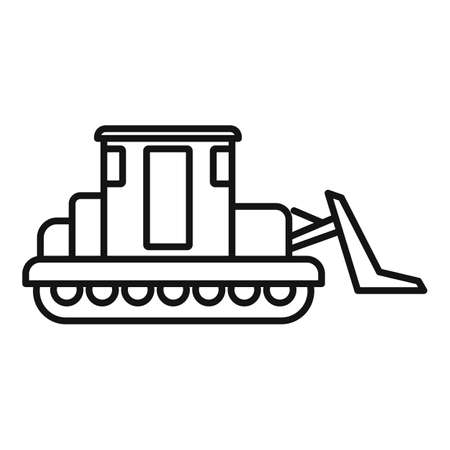 Building bulldozer icon, outline style