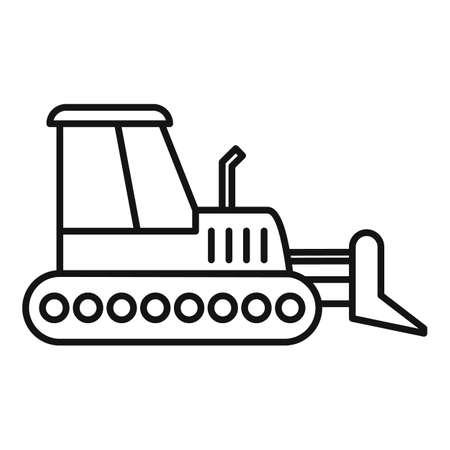Job bulldozer icon, outline style