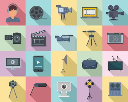 Cameraman icons set, flat style Vektorové ilustrace