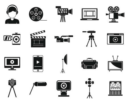 Broadcasting cameraman icons set, simple style