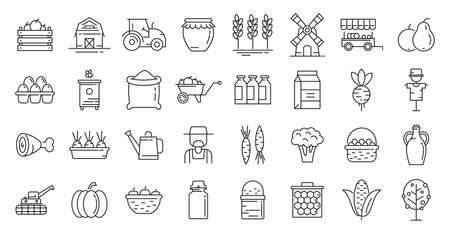 Producer icons set, outline style