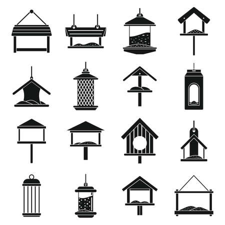 Winter bird feeders icons set, simple style Illustration