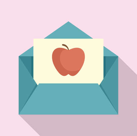 Envelope red apple newtons day icon, flat style