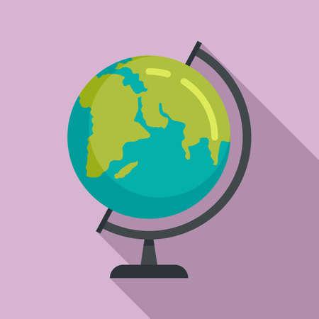 School globe icon, flat style Vetores
