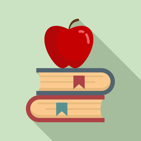 Red apple on book stack icon, flat style