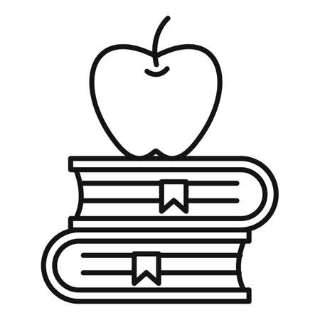 Apple book stack icon, outline style