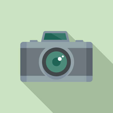 French photo camera icon, flat style Illustration