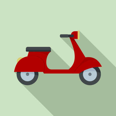 French retro scooter icon, flat style