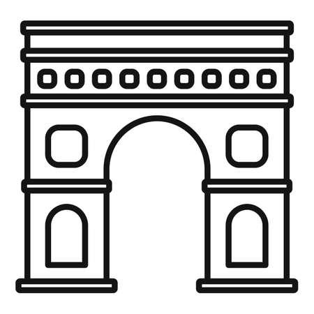 Paris triumphal arch icon, outline style