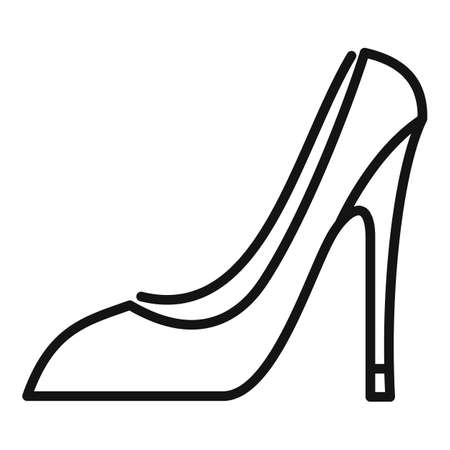 French woman shoes icon, outline style