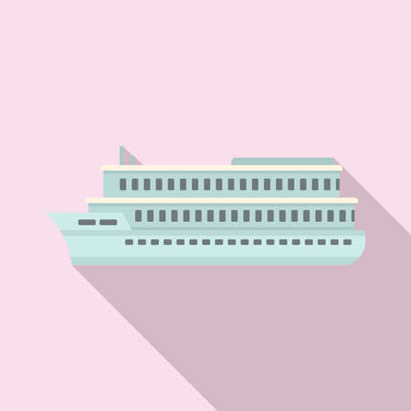 River cruise icon, flat style Illustration
