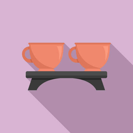 Tea ceremony cups icon, flat style