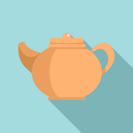 Ceramic tea pot icon, flat style