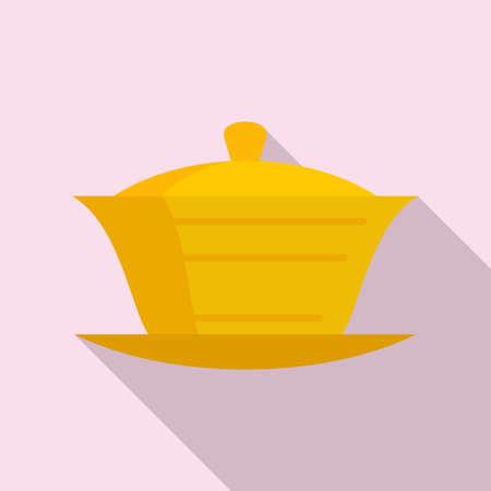 Ceramic tea ceremony icon, flat style