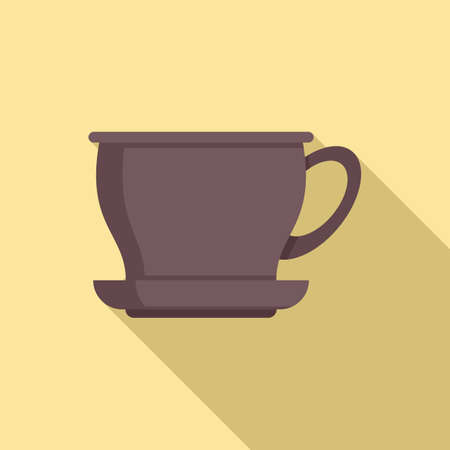 Ceramic tea cup icon, flat style