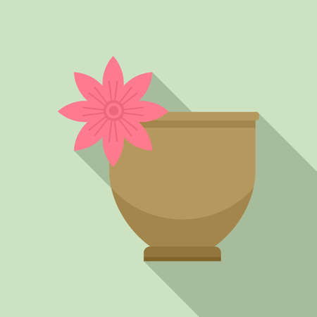 Tea ceremony flower cup icon, flat style