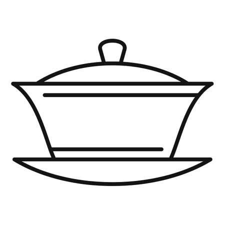 Ceramic tea ceremony icon, outline style Ilustração