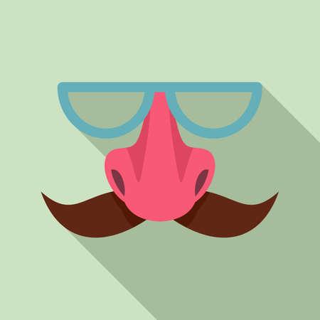 Hoax face mask icon, flat style Çizim