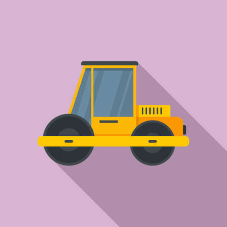 Construction road roller icon, flat style