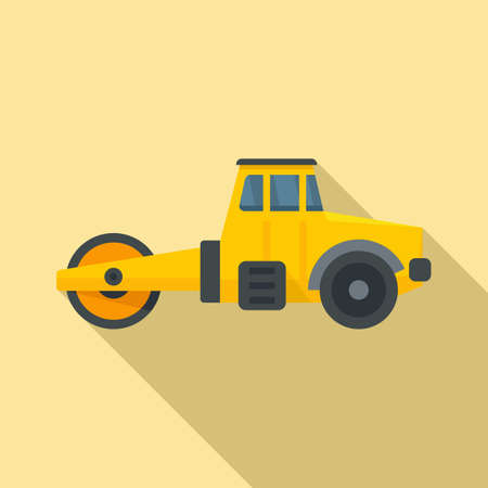 Maintenance road roller icon, flat style