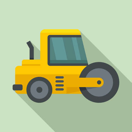 Vehicle road roller icon, flat style Illustration