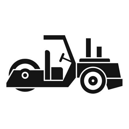 Work road roller icon, simple style Illustration