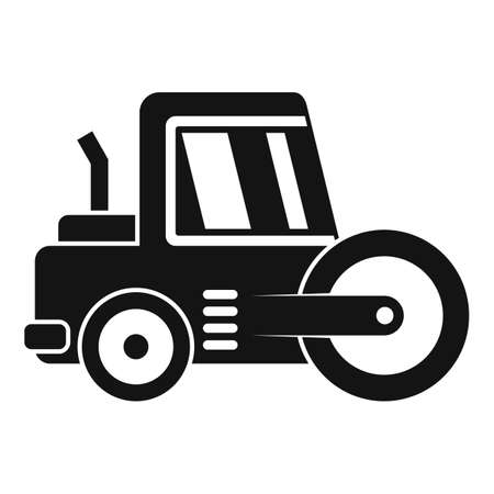 Vehicle road roller icon, simple style