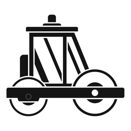 Builder road roller icon, simple style
