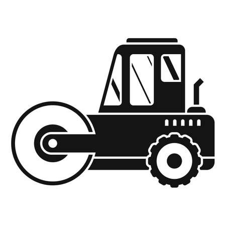Heavy road roller icon, simple style Illustration