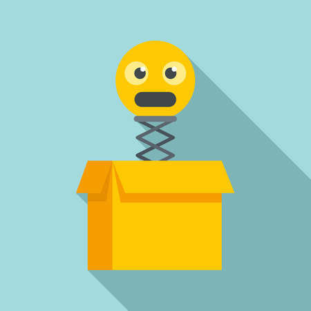 Hoax emoji box icon, flat style Vettoriali