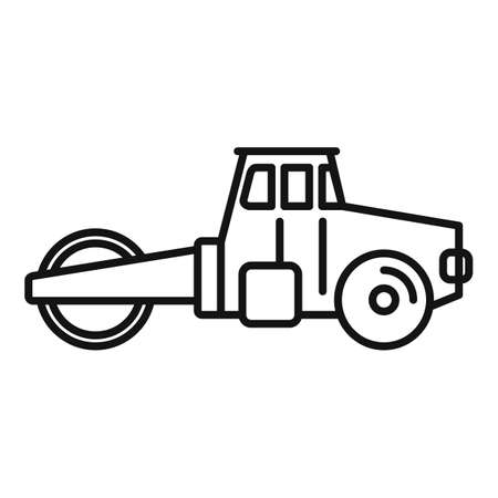 Maintenance road roller icon, outline style