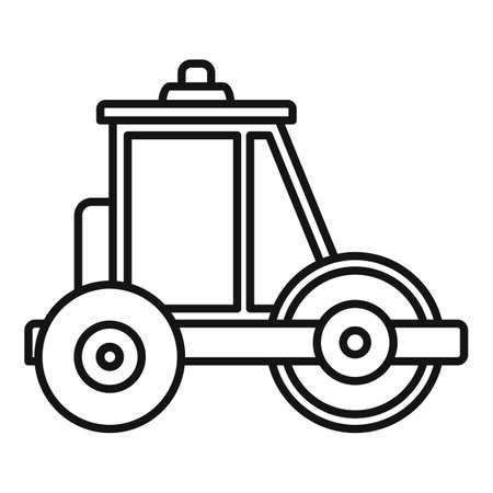 Builder road roller icon, outline style Illustration