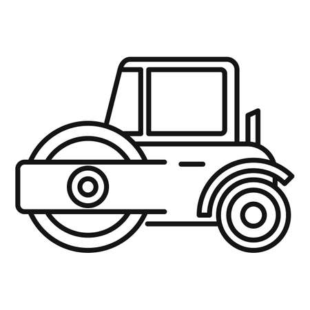 Modern road roller icon, outline style
