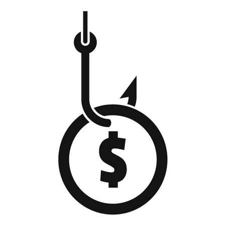 Fraud money hook icon, simple style 矢量图像