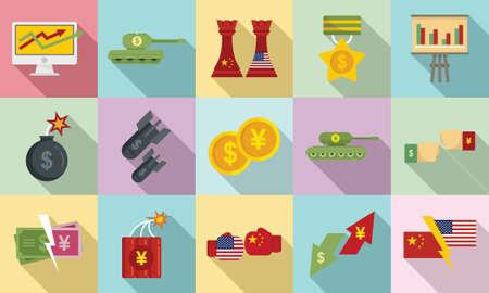 Trade war icons set, flat style