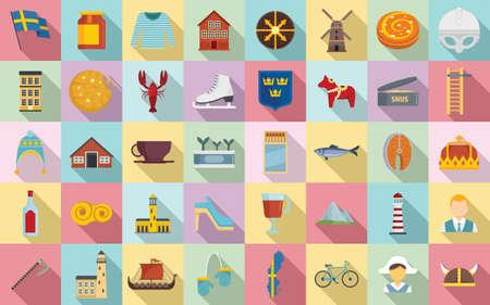 Sweden icons set, flat style