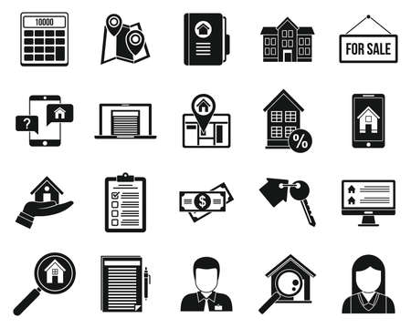 City realtor icons set, simple style