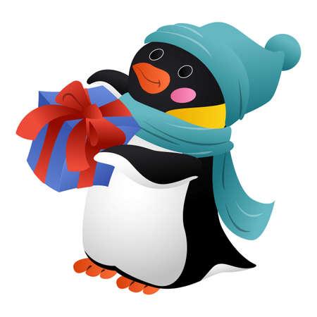 Penguin with scarf icon, cartoon style 版權商用圖片 - 158915918