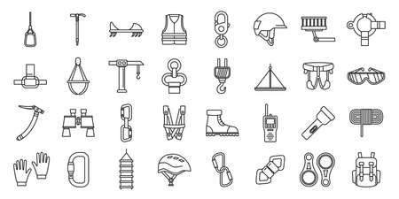 City industrial climber icons set, outline style 向量圖像